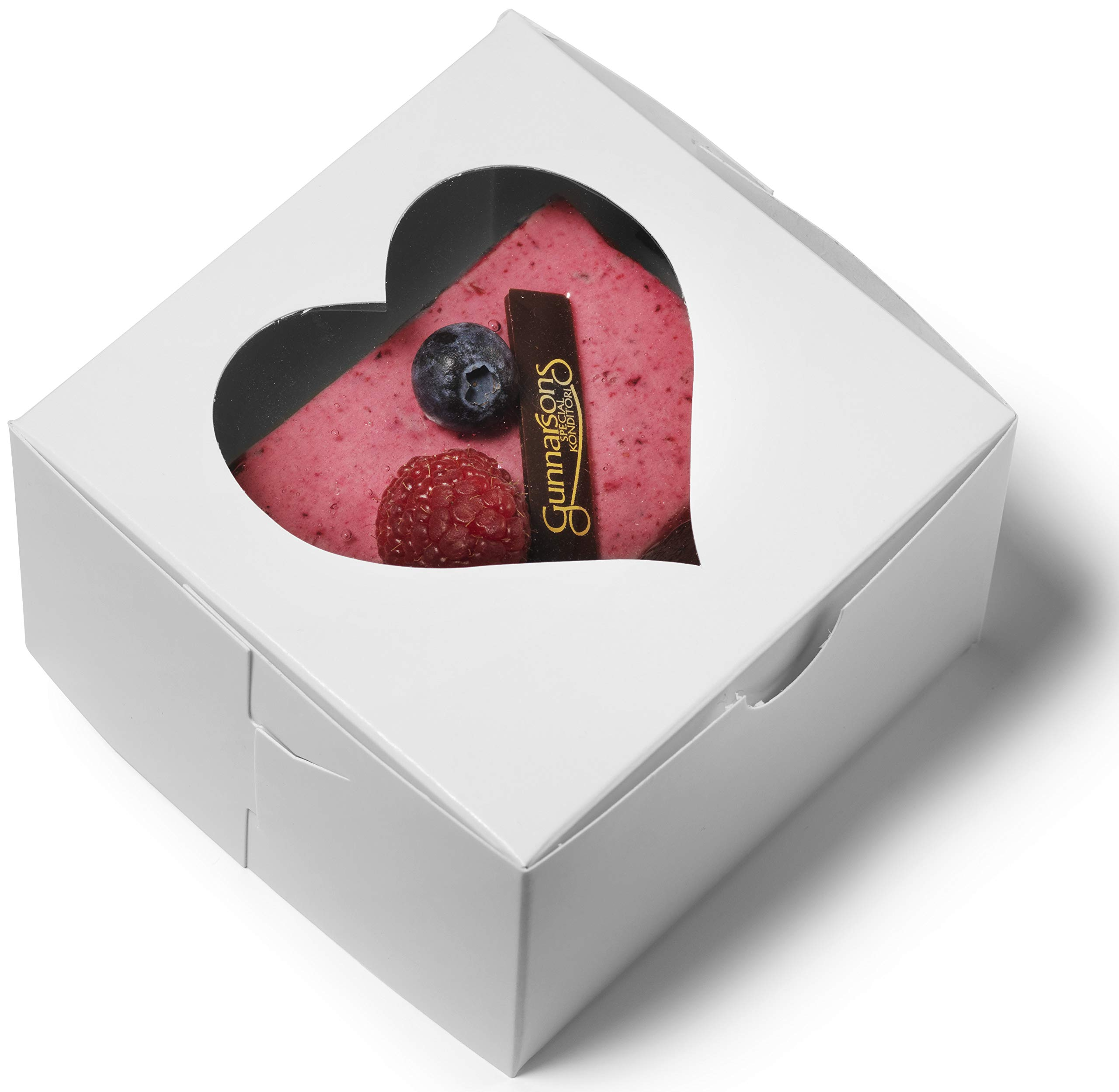 Bakery Boxes 4x4x2.5'' Heart Window [50Pack]   by Cuisiner   White Pastry Containers for Cake, Pies, Donut, Cookies, Cupcake and Party Treat   Ideal for Baby Shower, Dessert Packaging by Cuisiner