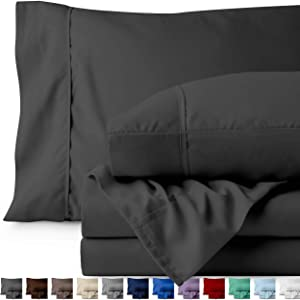 Bare Home Split King Sheet Set - 1800 Ultra-Soft Microfiber Bed Sheets - Double Brushed Breathable Bedding - Hypoallergenic – Wrinkle Resistant - Deep Pocket (Split King, Grey)