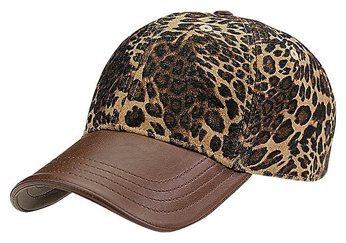 9cdfe4529a Amazon.com  Maze Women s Leather Cotton Leopard Fur Print Fancy Muted  Colors Baseball Cap