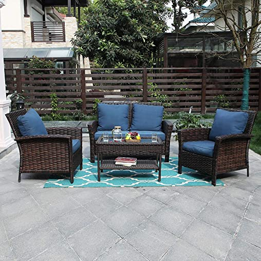 PHI VILLA Outdoor Rattan Patio Furniture Set 4 Piece Conversation Set Wicker Furniture Sofa with Seat Cushions