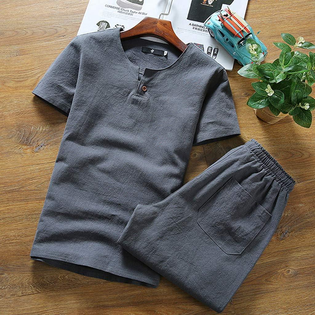 Fitfulvan Mens Baggy Casual Cotton Linen Two-Piece Set Color Block Zipper Hooded Sweatshirt Pants Set Tracksuit