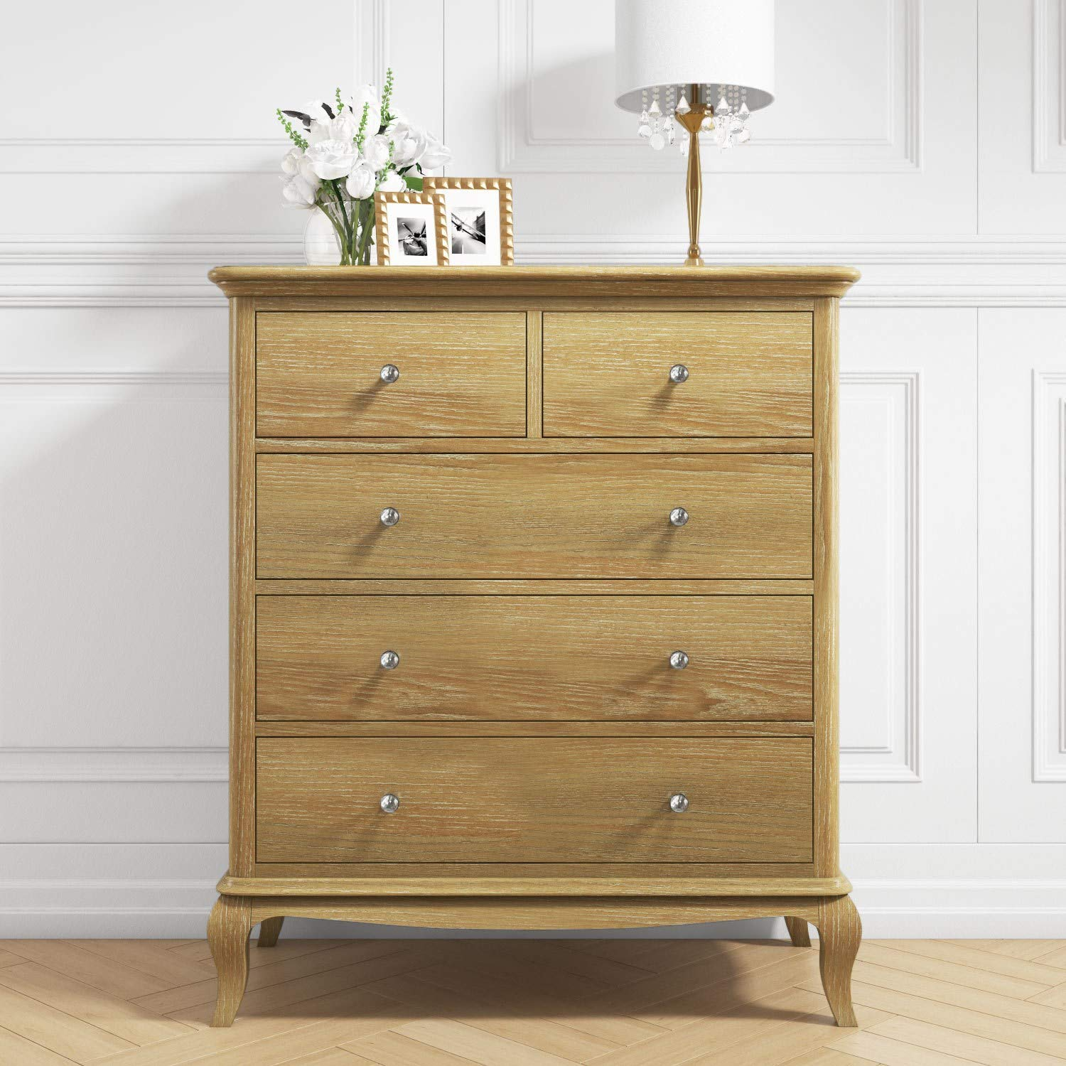 Fonteyn 2 3 Solid Oak Chest Of Drawers French Style Amazon Co