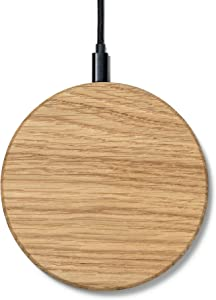 Oakywood Slim Wireless Charger - Premium Wooden Fast Wireless Charger Compatible with QI-Enabled Devices, iPhone 11 Pro, 11, X, Xr, Xs, 8, SE Samsung Galaxy S20, S10, S9, S8 {Oak}