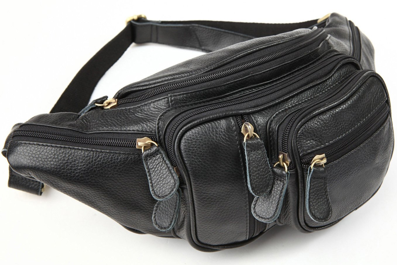 Texbo Men's Genuine Leather Fanny Waist Pack With Many Zipper Pockets Large Bag