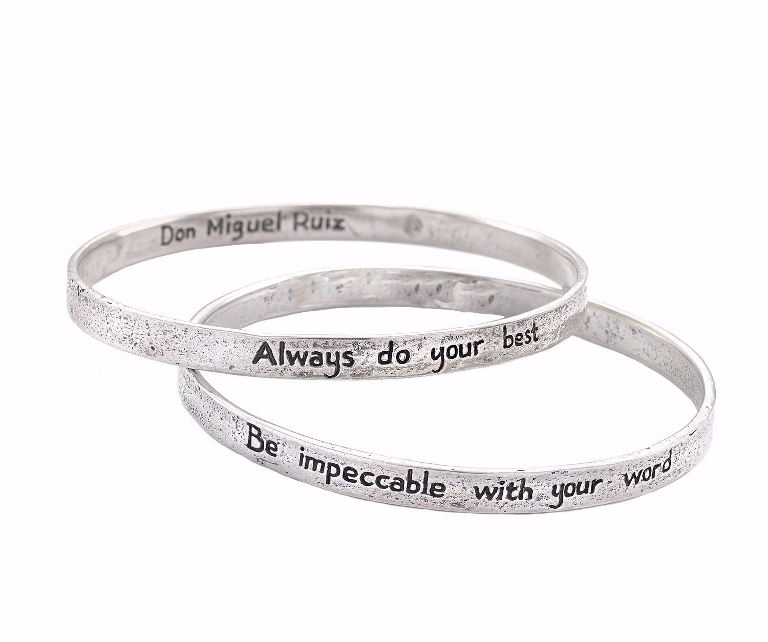 The Four Agreements ''Reminder Bangle Set'' (sterling-silver, 65 Millimeters)