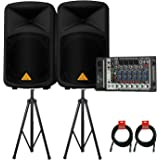 Behringer EUROPORT EPS500MP3 500-Watt 8-Channel Portable PA System with Tri-Pod Stands (Pair) and 2 XLR Microphone Cable