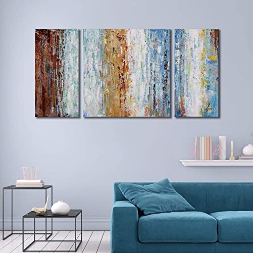 Abstract Oil Painting 100 Hand-Painted Large 3 Pieces Gallery-Wrapped Wall Art on Canvas Framed Wall Picture for Living Room Bedroom Home Decoration 24x48inch