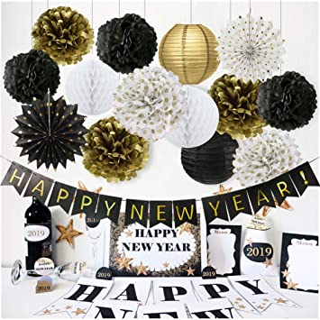happy new year decorations happy new year banner chinese paper lanterns tissue paper flowers pom poms