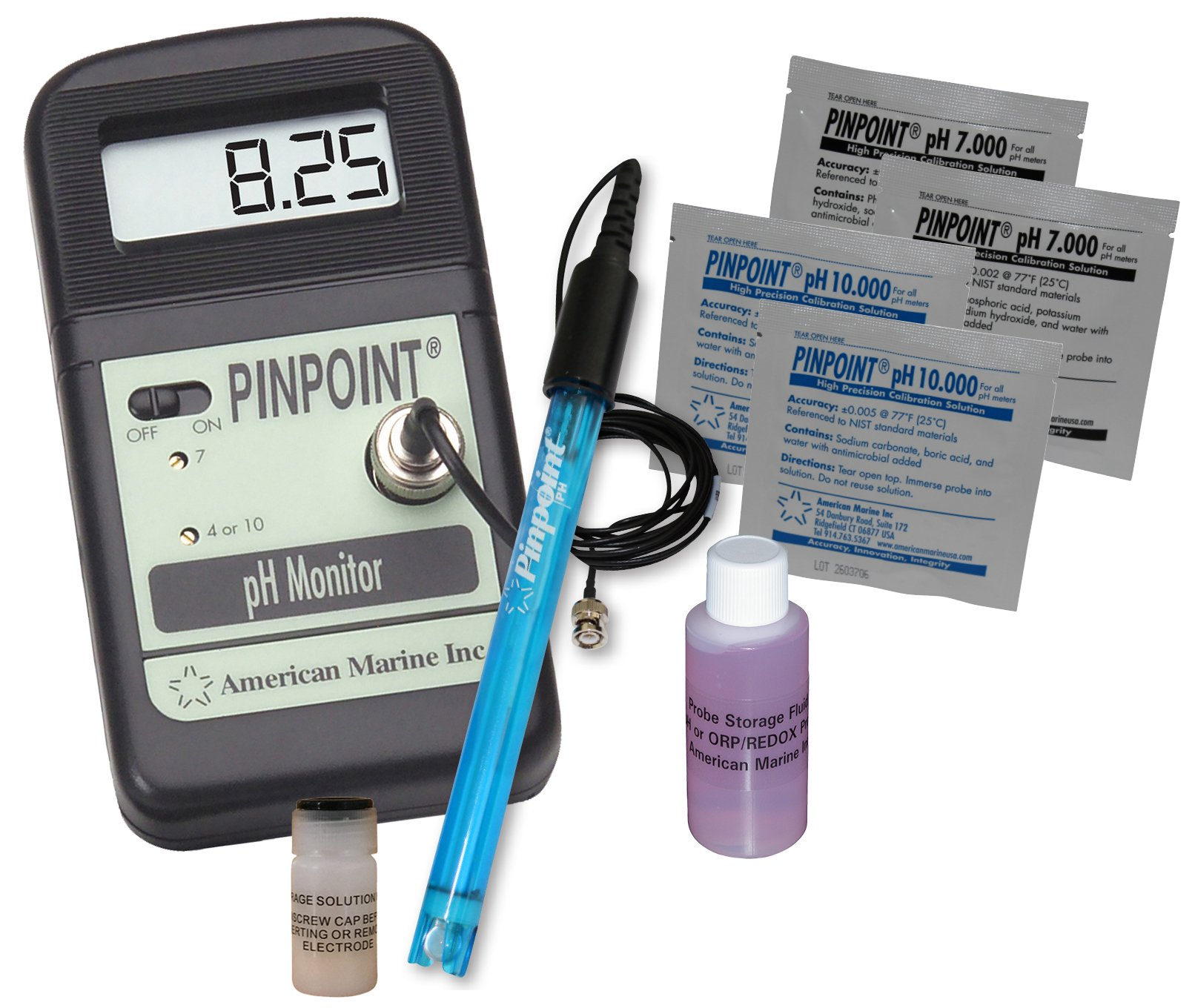PINPOINT pH METER KIT Lab Grade Portable Bench Meter Kit for Easy & Precise Digital pH Measurement by PINPOINT by American Marine Inc.