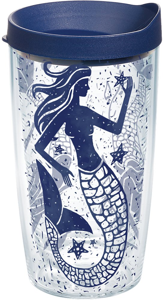 Tervis 1199002 Vintage Mermaid Collage Tumbler with Wrap and Navy Lid 16oz, Clear