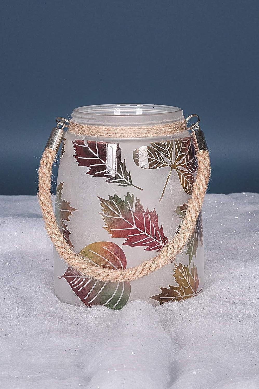 /16/cm /Motifs Feuilles de Verre givr/é Bougie en Pot//Support//Lanterne/ Autumn Feuilles dautomne/