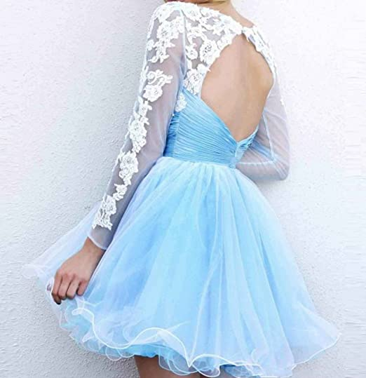 Amazon.com: Love Dress A-line/Princess Scoop Long Sleeves Applique Short/Mini Prom Dresses: Clothing