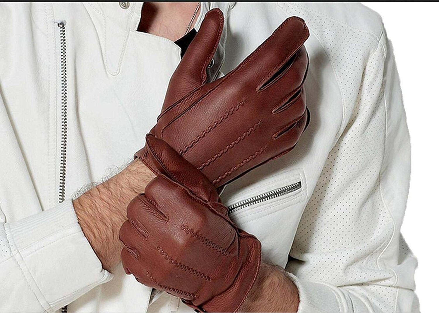 DIDIDD Womens Unlined Deerskin Leather Driving Gloves Short Thicker Waterproof Winter Warm 3 Colors,Brown,Large