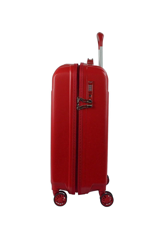 LYS Set de 3 Valises Polycarbonate Rigide 4 Roues Doubl/ées Rouge 55-66-76cm