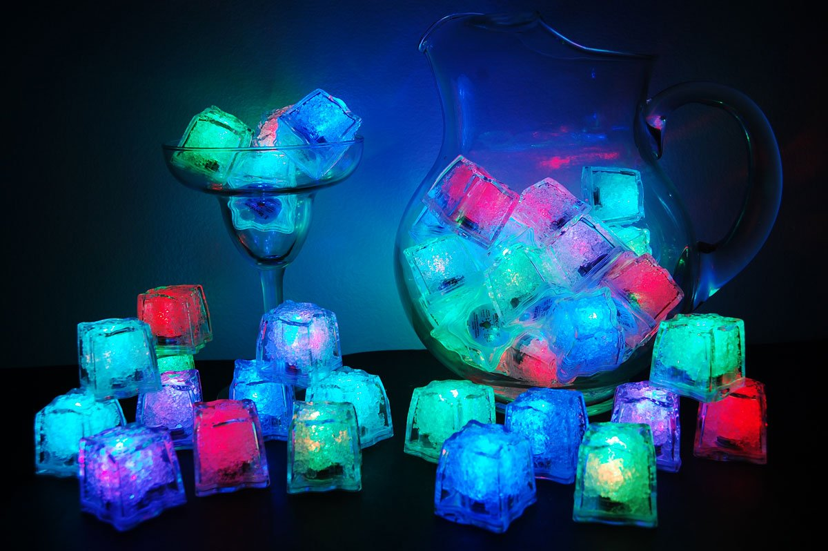 Set of 144 Litecubes Brand 8 Mode MultiColor RAINBOW Light up LED Ice Cubes by LiteCubes