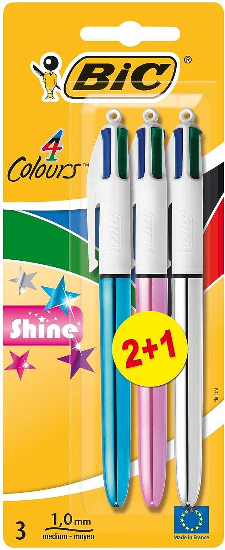 BIC 4 colores Shine Bolígrafo Retráctil punta media (1,0 mm) – colores Metálicos Surtidos, Blíster de 2+1