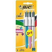BIC 4-Color Shine - Pack de 2+1 bolígrafos con 4 colores de tinta, cuerpo efecto metalizado y punta media