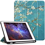 Fintie iPad 9.7 2018 (6th Gen) Case with Built-in Apple Pencil Holder - [SlimShell] Lightweight Soft TPU Back Protective Stand Cover with Auto Wake / Sleep for Apple iPad 9.7 inch Tablet (2018 Release), Blossom