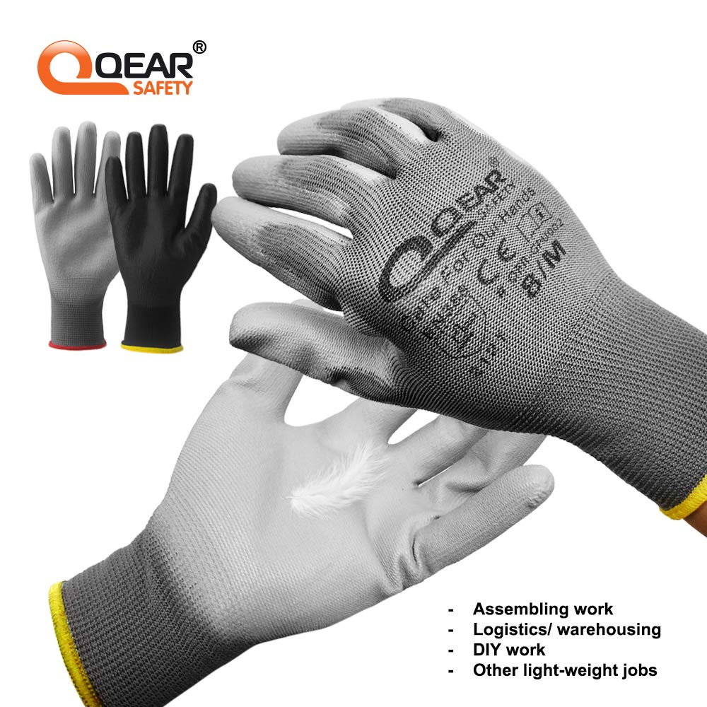 Qear Safety 12 pares de guantes de seguridad de trabajo de poliuretano transpirables Negro ligeros 7//S antideslizantes multifunci/ón 2000