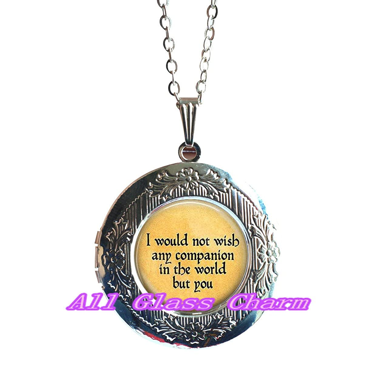 I Would Not Wish Any Companion in the World But You ,quote Locket Pendant,quote Locket Necklace,AS0230 Beautiful Locket Necklace,Love Quote Locket Necklace Locket Pendant