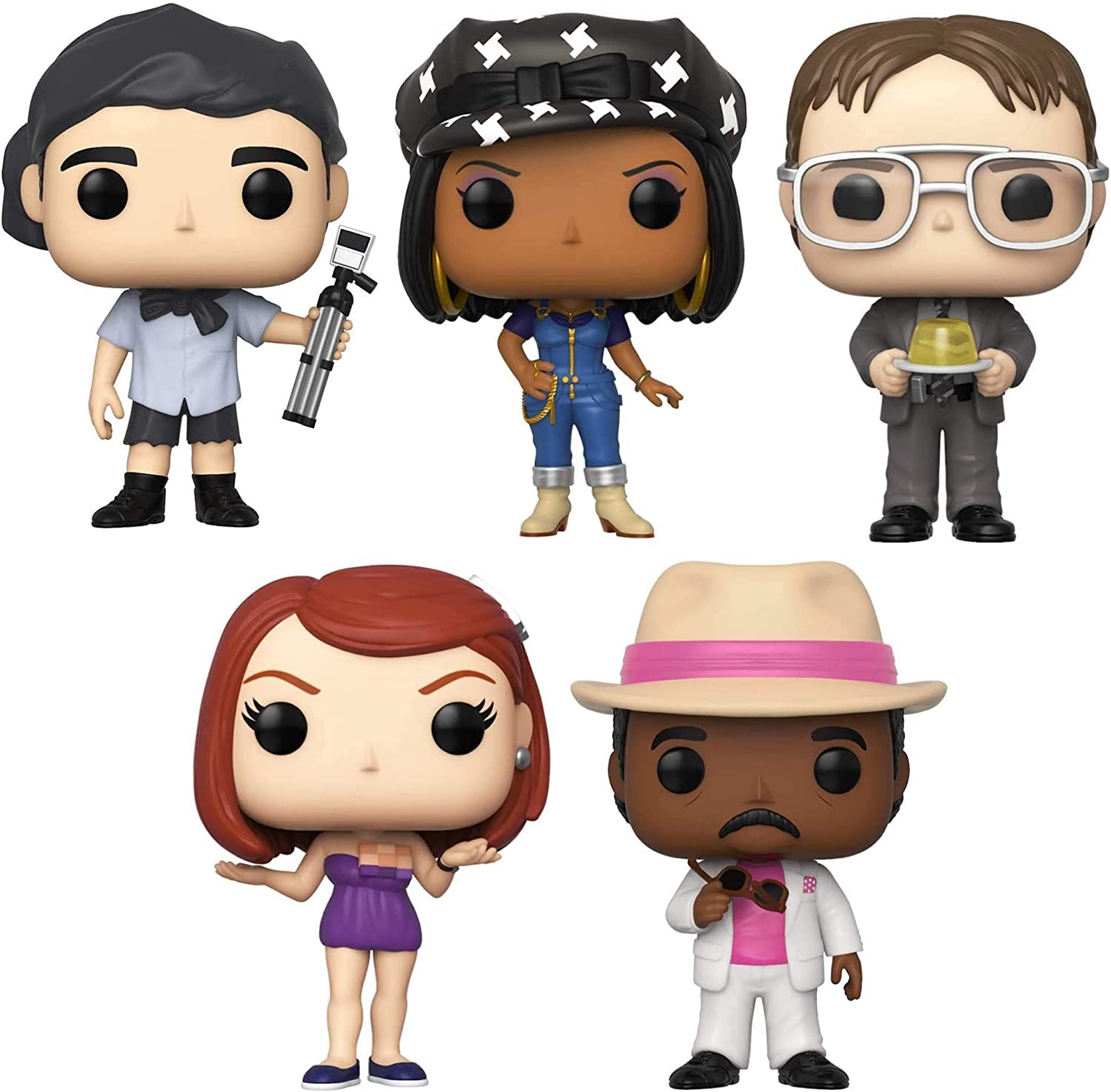 Funko Pop! TV: The Office - Michael As Survivor, Casual Friday Kelly, Dwight with Gelatin Stapler, Casual Friday Meredith and Florida Stanley - Set of 5 Figures