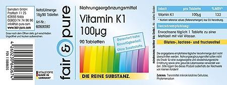 90 comprimidos -Vegano- de vitamina K1 (100 mcg) - Sustancia pura y sin aditivos: Amazon.es: Salud y cuidado personal