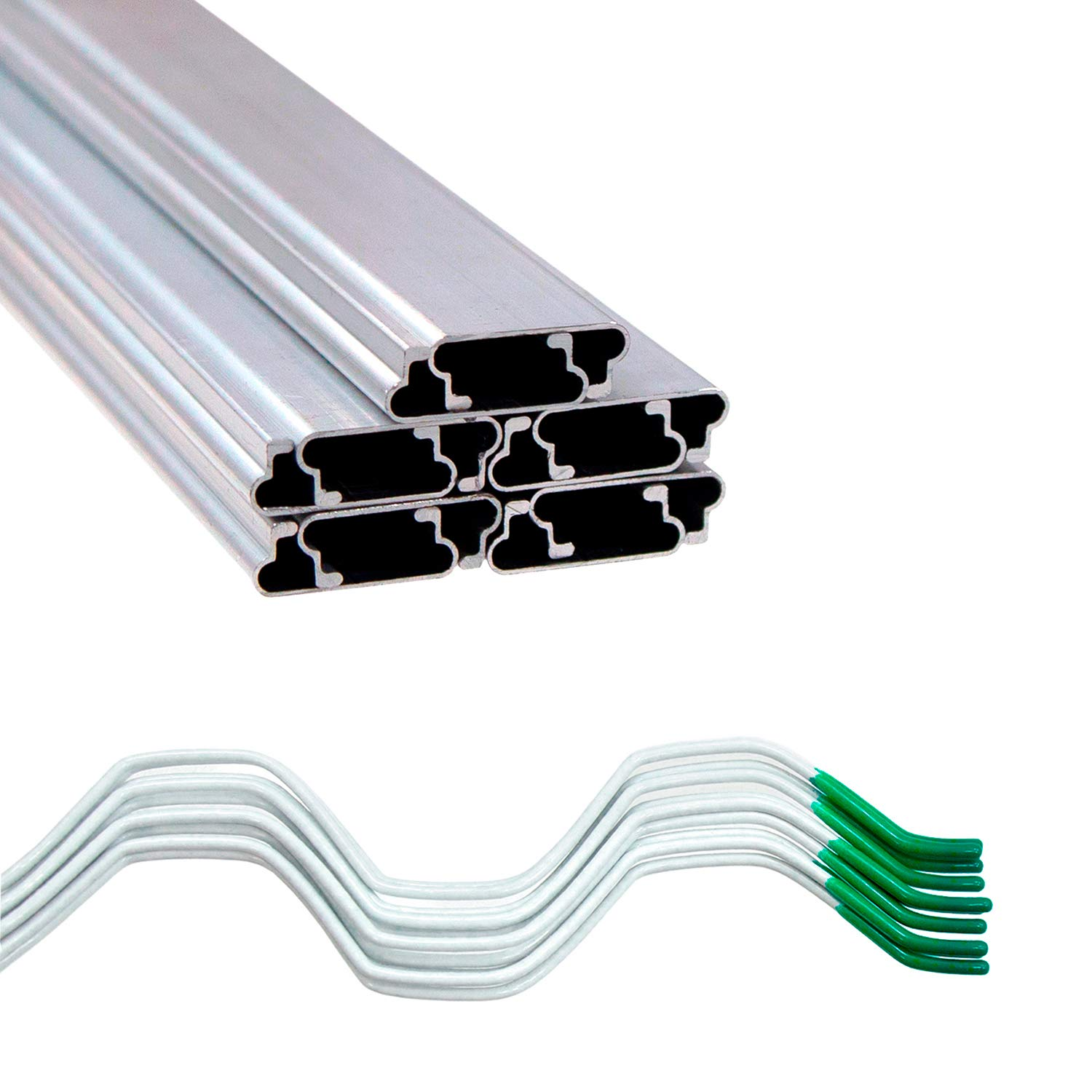 Jiggly Greenhouse Wire Kit 1'' x 6.5' Aluminum Channel and 6.5' Steel Wire Jiggly Wire (10 Pack)