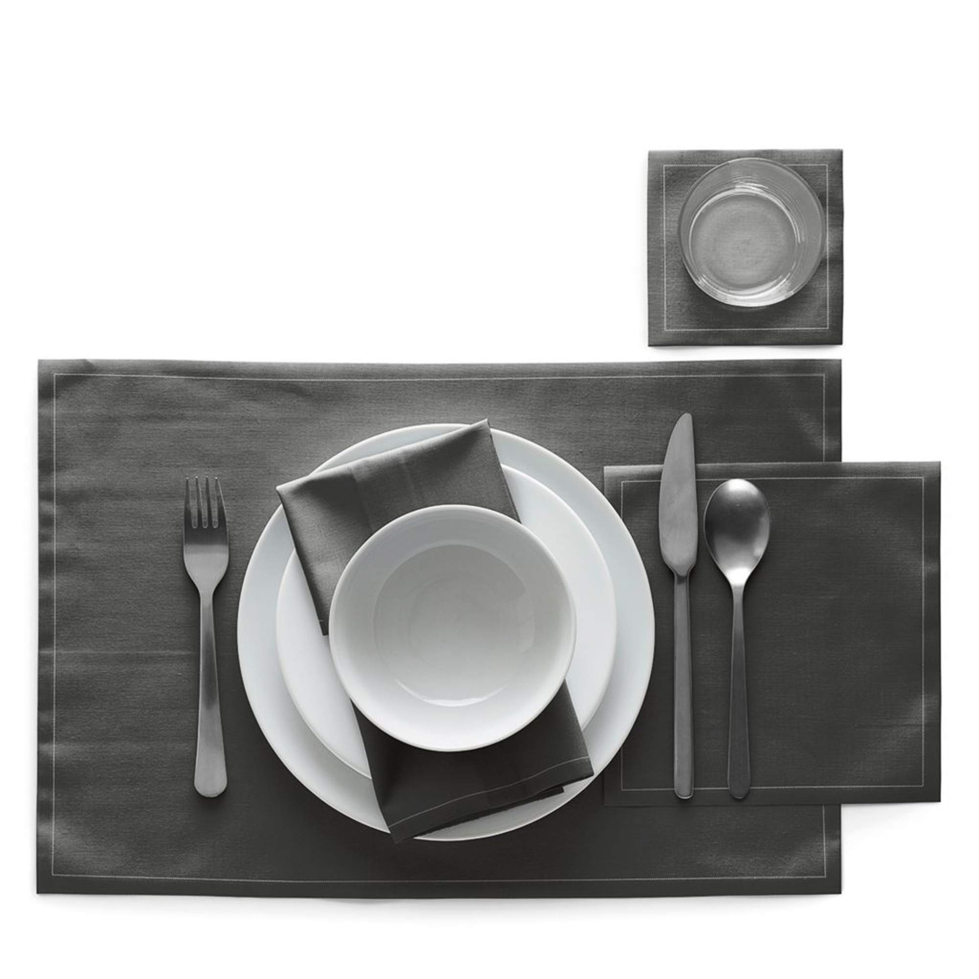 Cotton Placemat - 18.9 x 12.6 in - 12 units per roll - Anthracite by MY DRAP (Image #3)