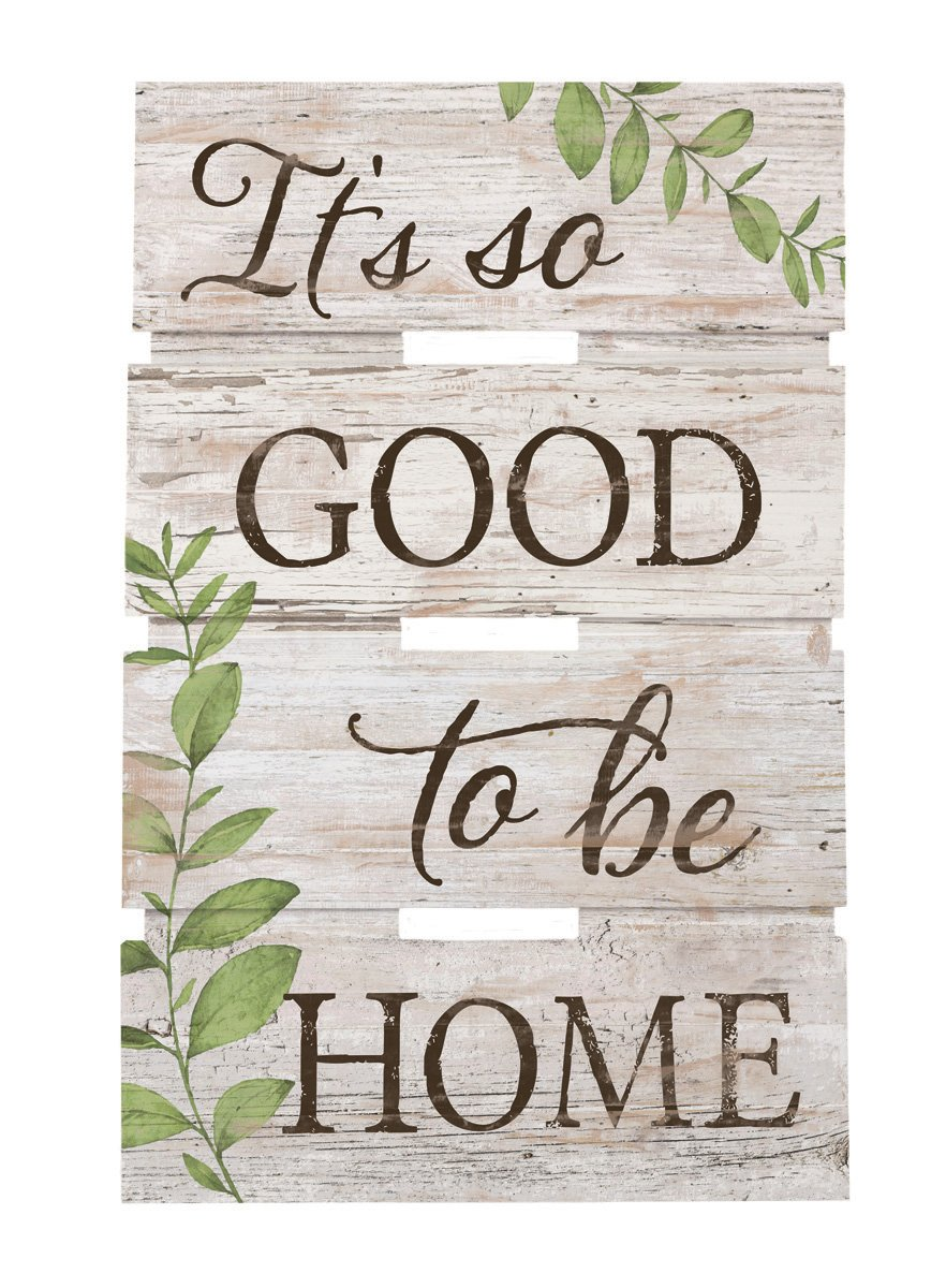 It's Good to Be Home Whitewash 10 x 15.5 Wood Skid Pallet Wall Plaque Sign