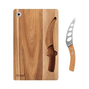 Hecef Set de Tabla Y Cuchillo de Queso, un Cuchillo Multifuncional & un Tabla de Madera de Acacia con Ranura para Colocar el Cuchillo