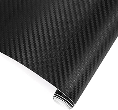 "40/""X16/"" 3D Black Carbon Fiber Vinyl Car Wrap Sheet Roll Film Sticker Decal Sales"