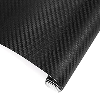 TRIXES 3D Vinilo de Fibra de Carbono Envoltura Adhesiva para Coche - 1500 X 300 mm - Negro - para Interior/Exterior - Efecto Texturizado 3D para ...