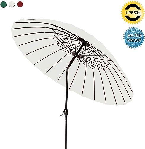 ABCCANOPY Patio Umbrella 9FT Outdoor Umbrella 18 Ribs Market Umbrella with Push Button Tilt and Crank, Sun shelter for Garden, Deck and Pool