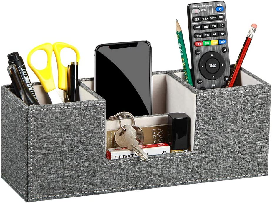 Leather Desk Organizer with 4 Compartments, Card/Pen/Pencil/Mobile Phone Stand Office Supplies Holder Desktop Remote Caddy, Home and College Dorm Decor Accessories Storage Box for Women (Grey)