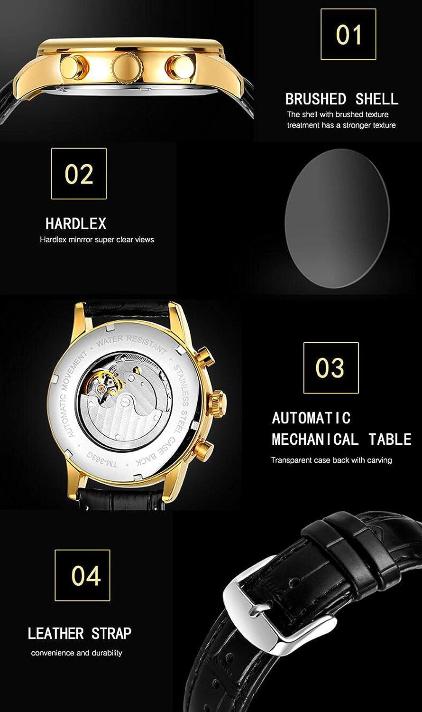 QXue Automatisk mekanisk klocka män multifunktion urtavla sport mode vattentät klocka läderrem colorA