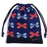 給食袋 巾着 ポルカドットとストライプのフレンチリボン(ネイビー) 入園グッズ 入学グッズ きんちゃく袋 小学校入学準備 給食 N7005500