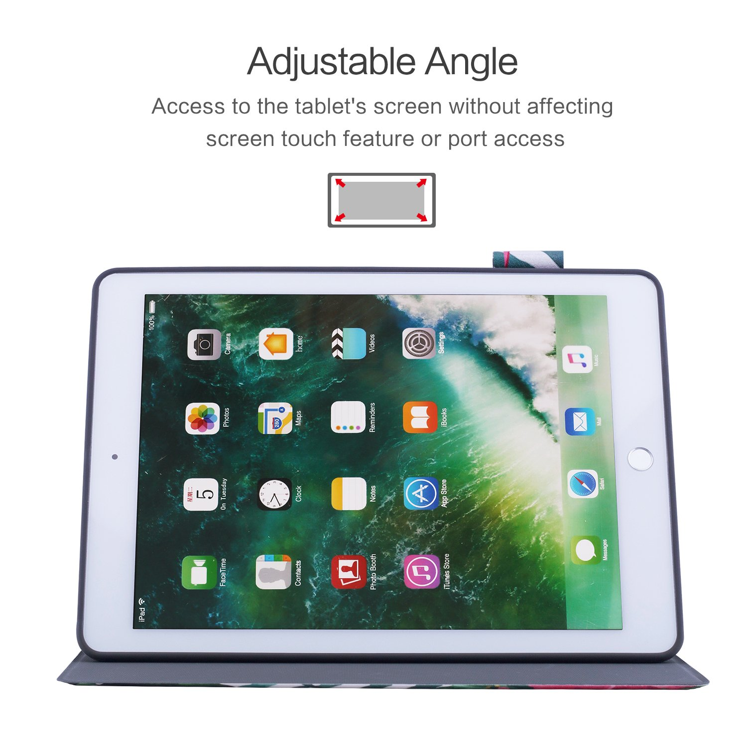 New iPad 9.7 inch 2018/2017 Case, Dopup Premium Leather Case, Multiple Viewing Angles Stand, Shock-Absortion Rubber Cover for Apple ipad 5th 6th Generation, Also Fits iPad Air 2/ iPad Air (Flower)