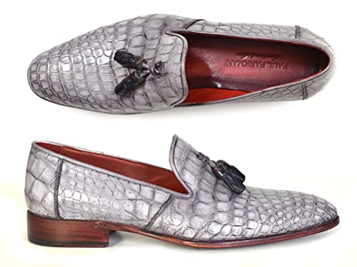 ec924f98e41 Paul Parkman Men s Grey Genuine Crocodile Tassel Loafers (Id 44LF27) (41 M