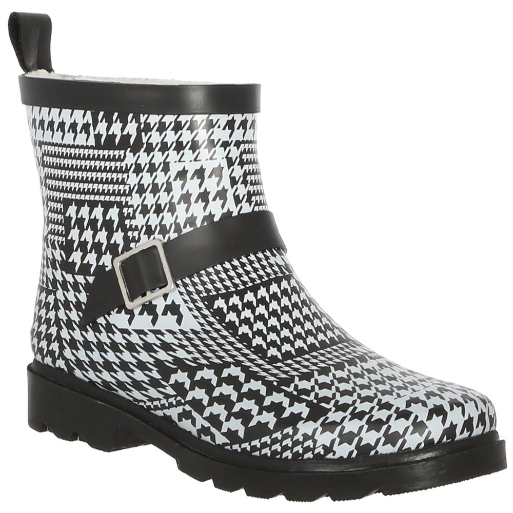 White Lined Houndstooth Capelli New York Ladies Shiny Umbrella Day Printed Short Sporty Lined Rainboot