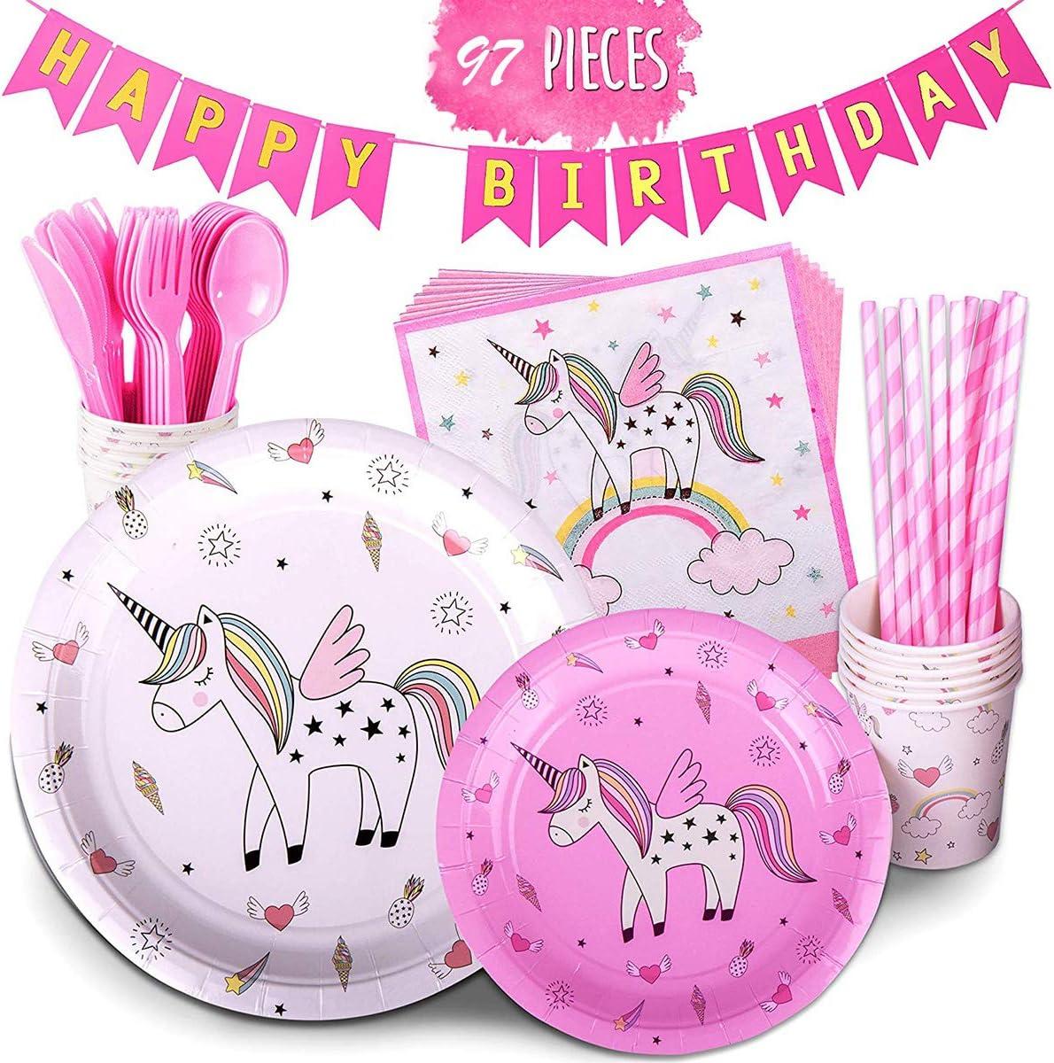 Amycute 97 pcs Vajilla de Fiesta de Cumplea/ños Unicornio Ni/ña Happy Birthday Fiesta Unicornio Rosa Vajilla Desechable para 12 ni/ños de cumplea/ños Cumplea/ños de ni/ño Fiesta Deco Baby Shower