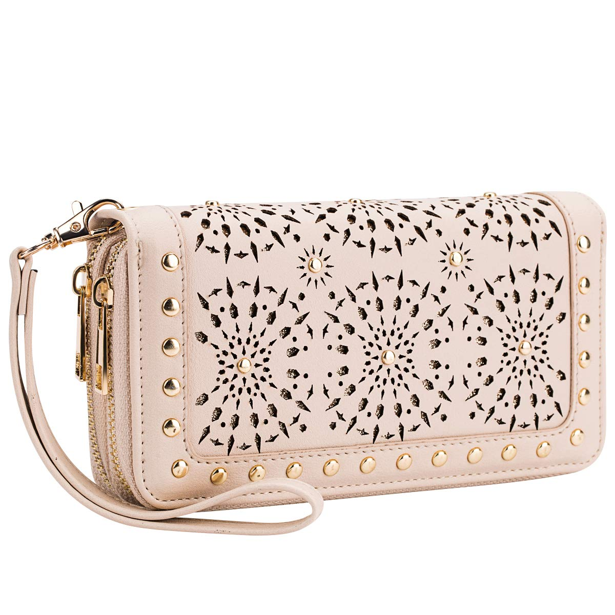 Heaye Unicorn Wallet Hollow Floral Wristlet Zip Around Pouch with Perforated Stud