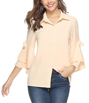 4c3afe2f6 Aibrou Womens Ruffle Sleeve Blouse Cold Shoulder Tops Button Down Shirts  Apricot