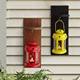 Tied Ribbons Garden Decoration Items Lantern Lamps For Living Room With Wooden Shelve Set Of 2
