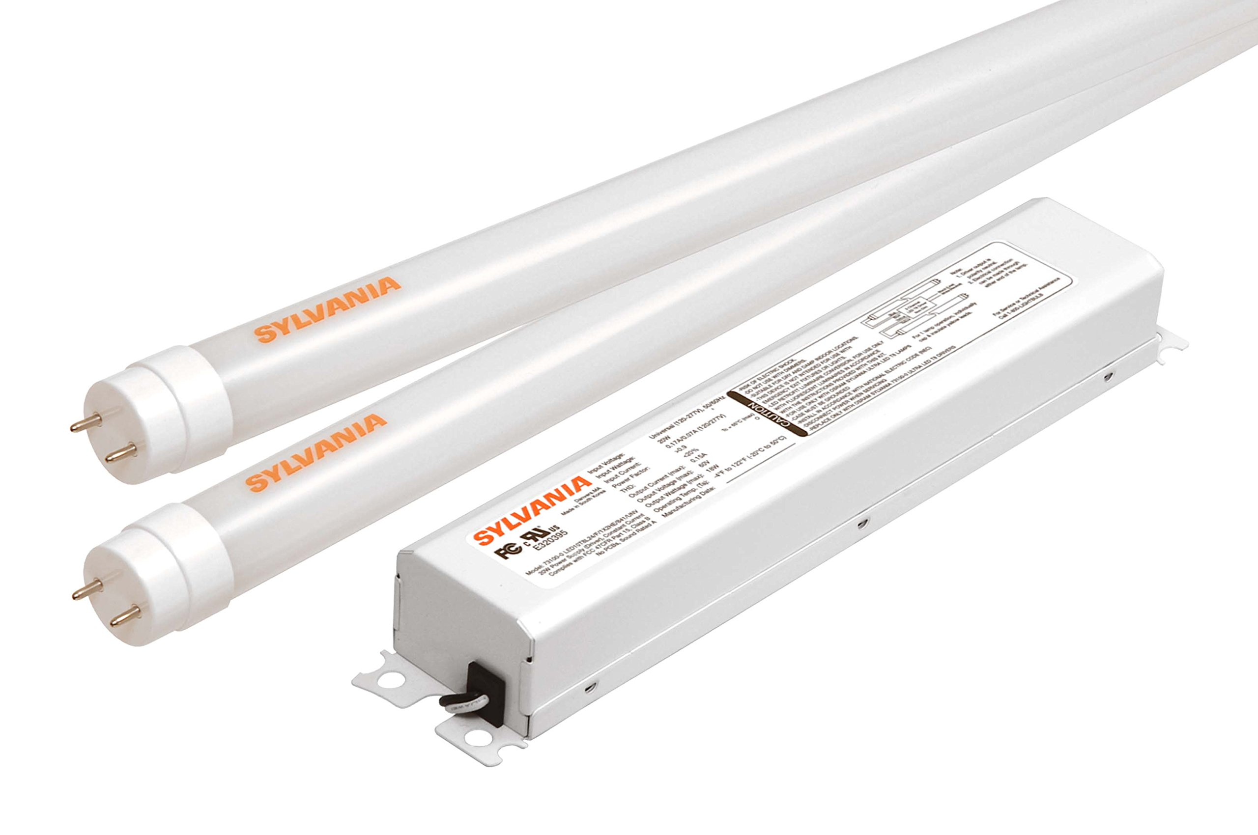 SYLVANIA Ultra HE LED T8 Retrofit Kit / Two Lamp LED Tubes replacing 2-Feet Fluorescent (T12 or T8) / Medium bi-pin base G13 / 10 Watt / 3500K – warm white by Sylvania Home Lighting