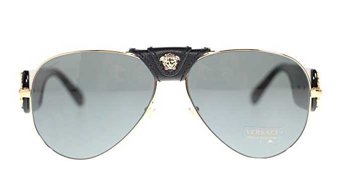 40559e49b204 Image Unavailable. Image not available for. Colour: Versace Men's Pilot  Sunglasses VE2150Q 100287 Gold/Grey Lens 62MM Authentic