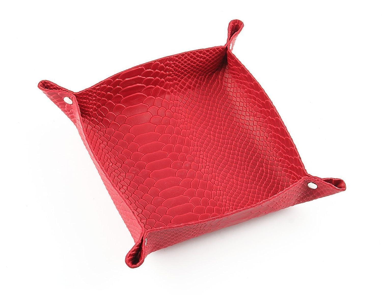 Ablagescahle/Lagerbehälter in echtem Leder-Handmade in Italy-rot