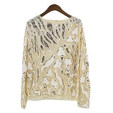 76facf15c757 NiSeng Damen Perspektive Bluse Lange Ärmel Glitzer Shirt Spitze T-Shirt  Lace Blusen Tops Gold