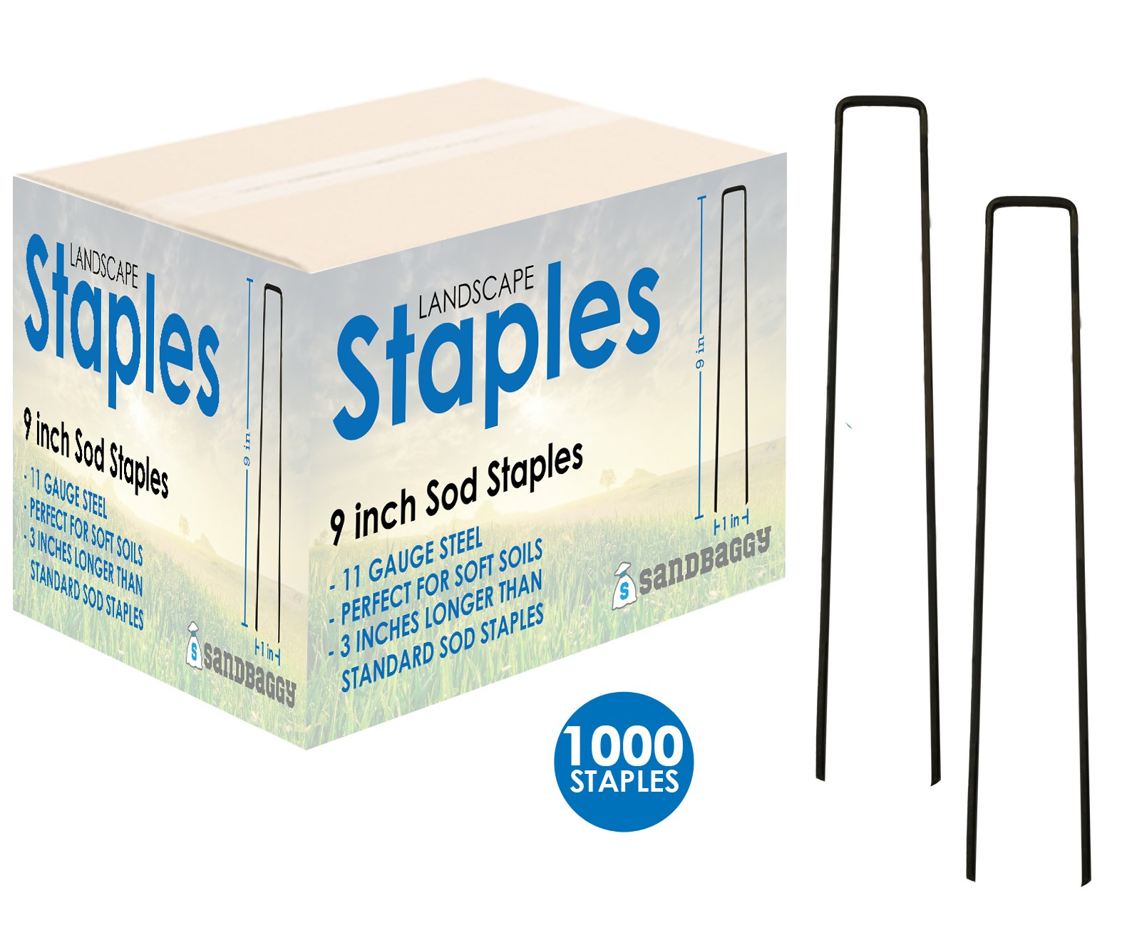 Sandbaggy Landscape Staples 9-inch EXTRA LONG ~ Landscape Fabric Pins -Garden Staples Heavy Duty - Ground Cover Staples - Fence Anchors - Lawn Nails - Garden Stakes - Lawn Staples by (1000 Staples)