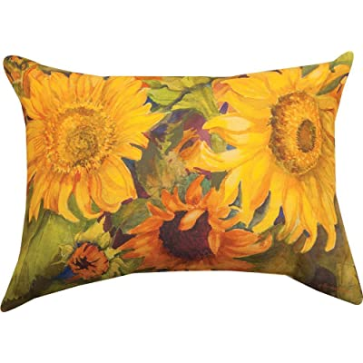 Manual Woodworkers Sunny Faces Sunflower Rectangle 18 x 13 Inch Indoor Outdoor Throw Pillow : Garden & Outdoor