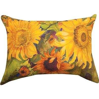 Manual Woodworkers Sunny Faces Sunflower Rectangle 18 x 13 Inch Indoor Outdoor Throw Pillow : Garden & Outdoor